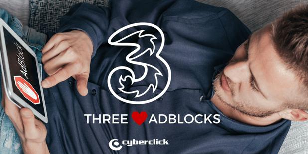 Three implements ad blocking