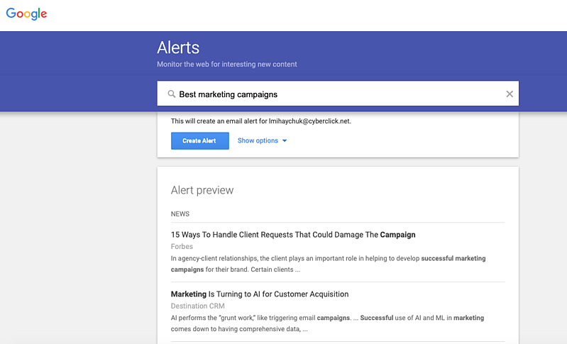 The Top 25 Tools for the Best Competitor Analysis: Google Alerts