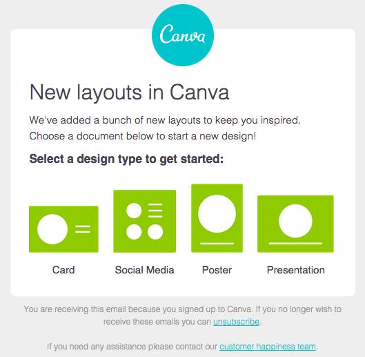 Ejemplo de campaña de marketing directo de Canva